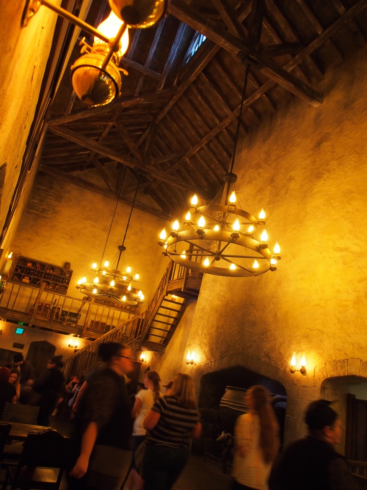 Leaky Cauldron in Diagon Alley; they serve British food and of course the famous butter beer