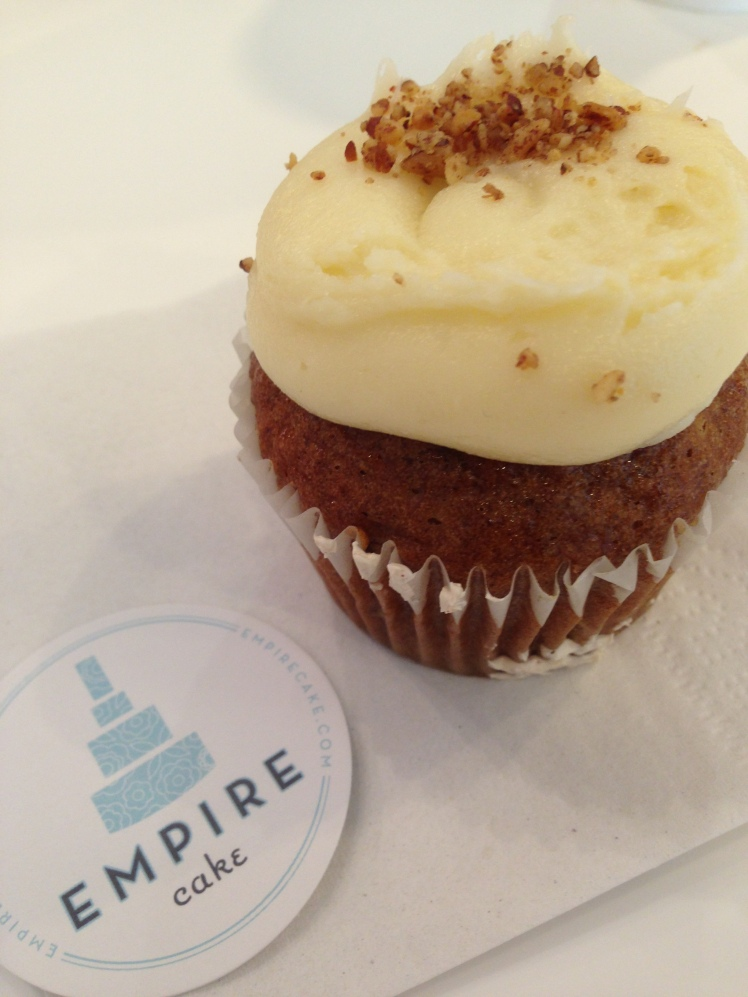 Carrot Cake Cupcake; the frosting is oh so good you want to eat it all at once
