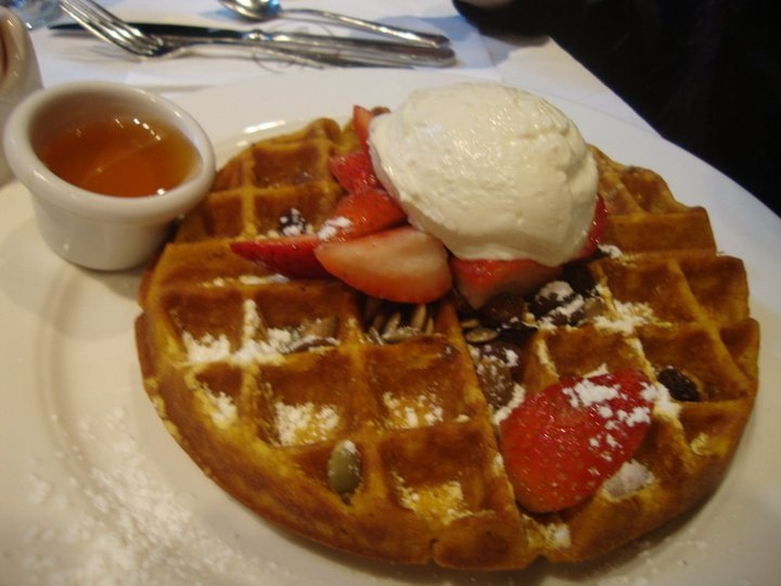 Pumpkin Waffle with fruits