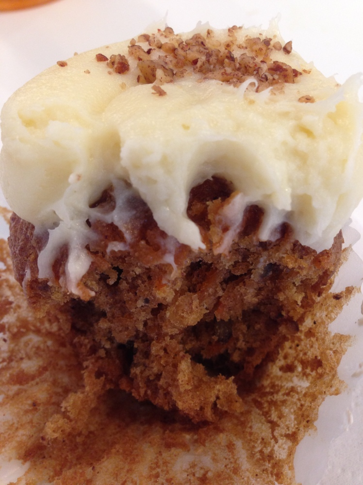 look at that moist carrot cake cupcake; so yummy