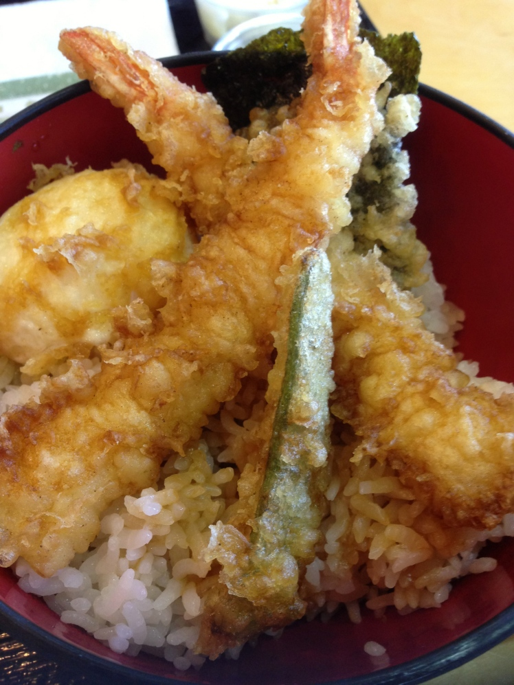 Tempura donburi with soft boiled egg; delicious
