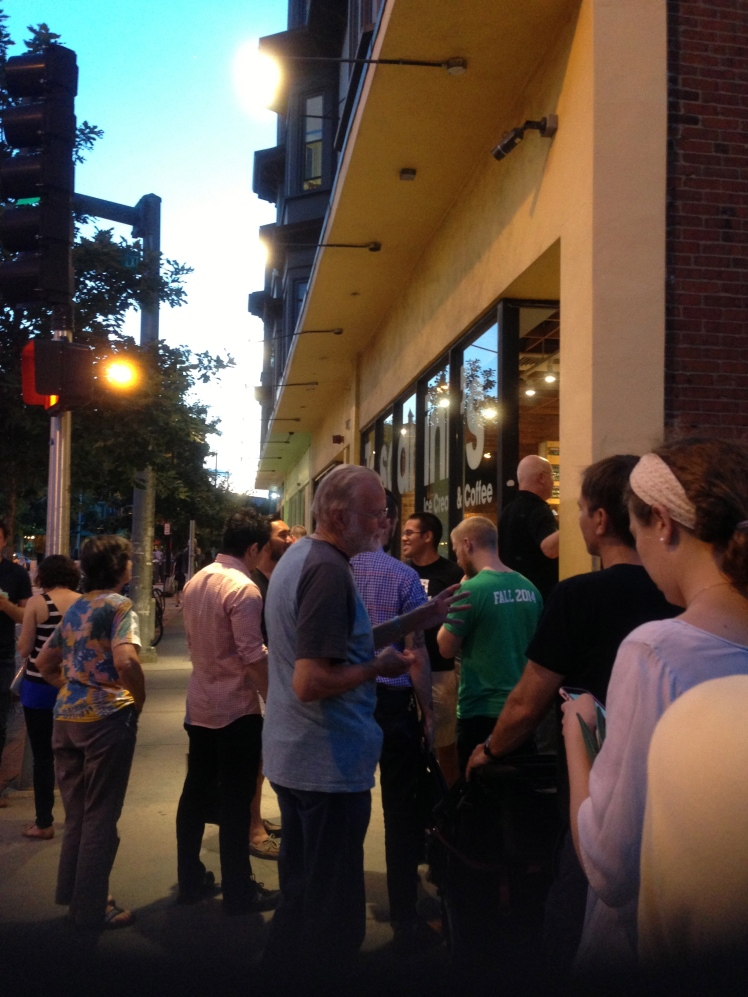 the line for ice cream