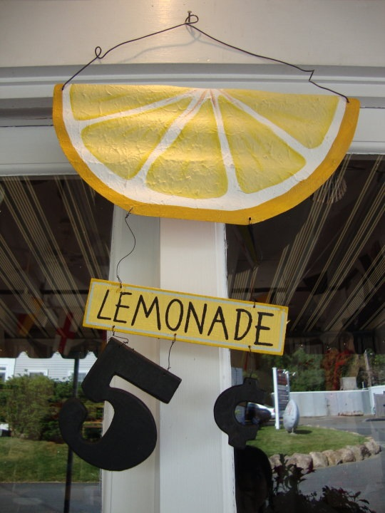 cute lemonade sign on the porch