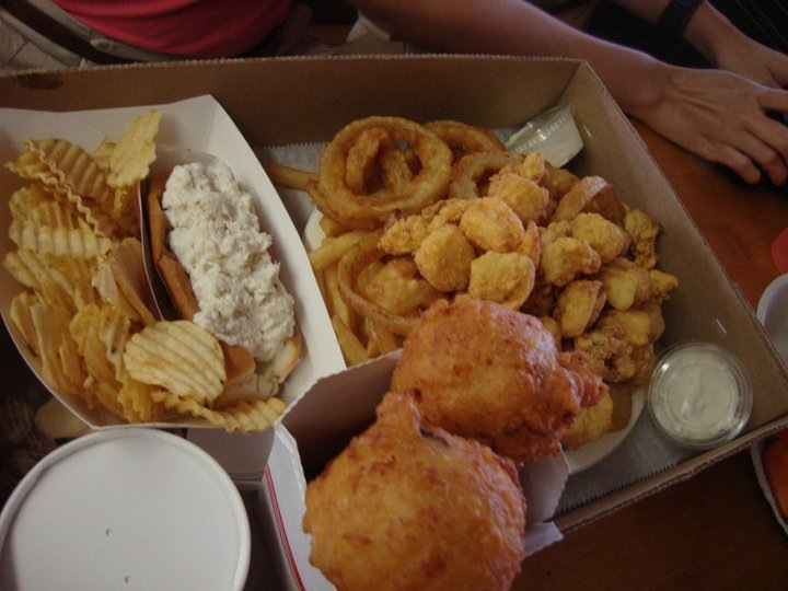 "Lobster roll, ""down river"" combo, clamcakes, and clam chowder"