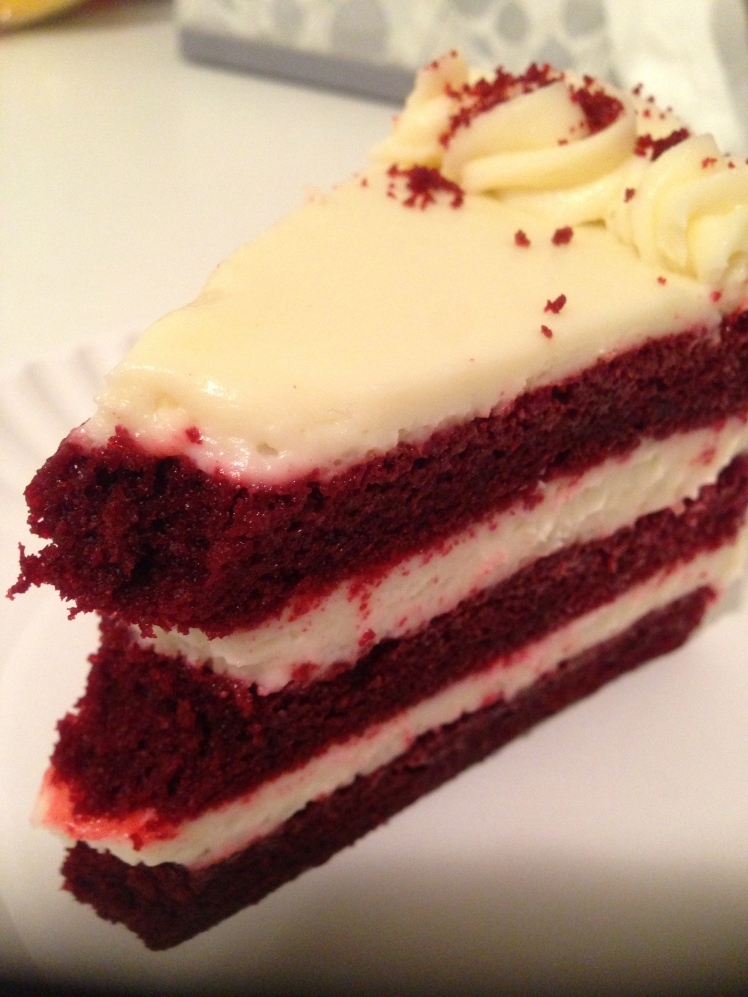 Red Velvet slice cake; super! (pardon the photo - I took the photo after a bite lol)