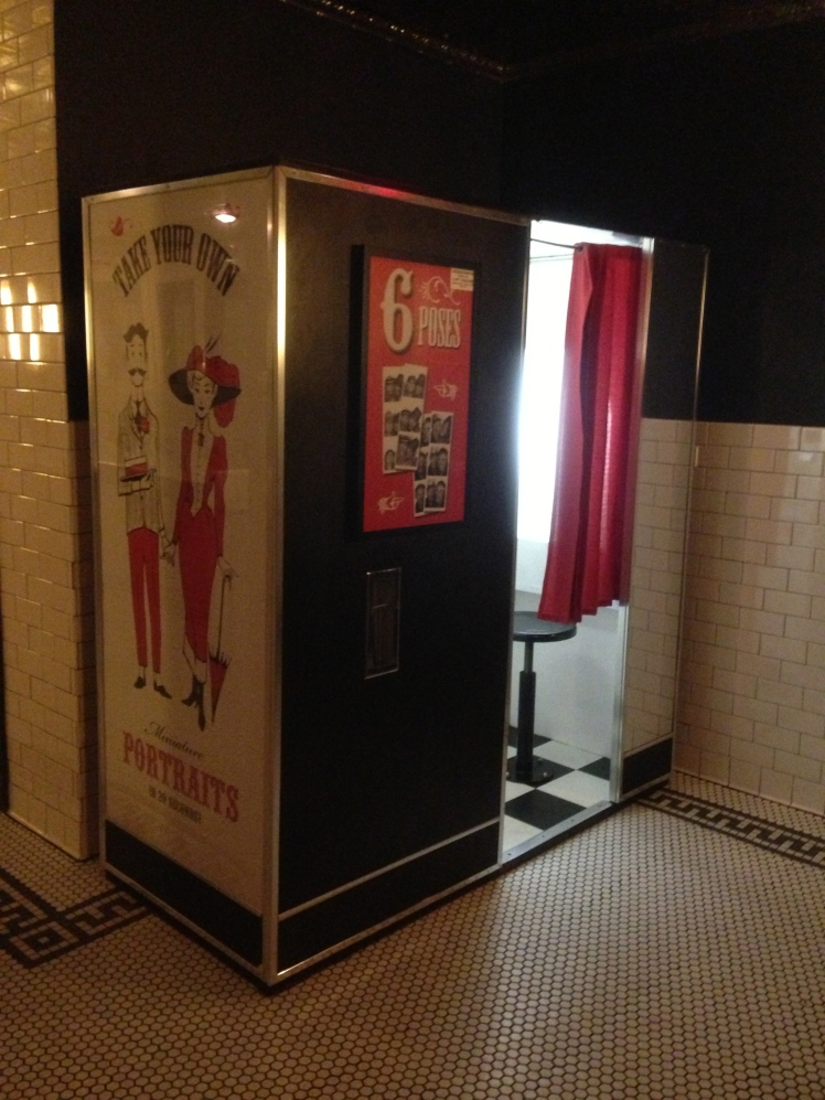 The photobox inside the unisex restroom